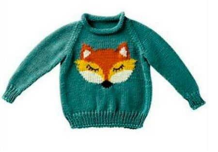 Детский пуловер спицами с лисичкой