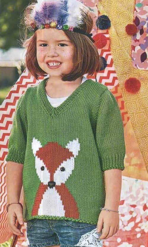 Детский пуловер <u>детей</u> с рисунком лиса