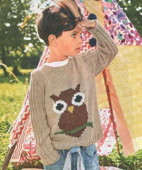 Детский пуловер с рисунком совы