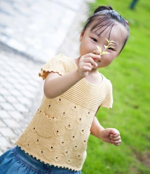 Красивый узор для детской кофты спицами