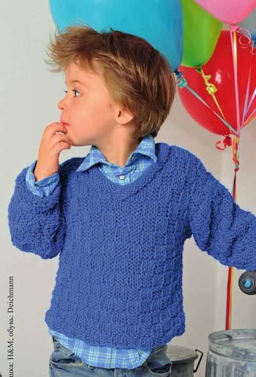 Синий пуловер для мальчика спицами 3 лет