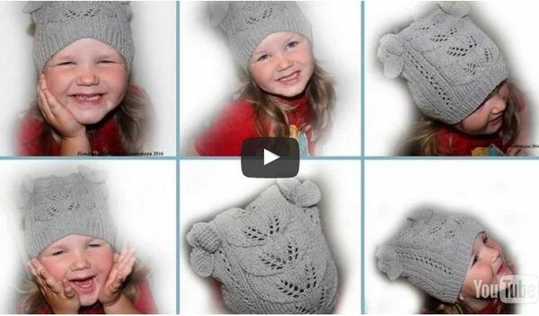 Вязание спицами шапок для девочек 5-6 лет 53
