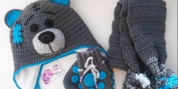 Мишка Тедди — вязание детской шапочки крючком видео