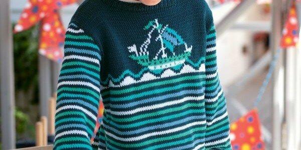 Полосатый пуловер для мальчика спицами