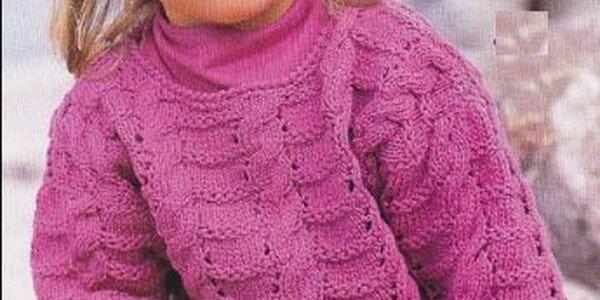 Ажурный пуловер для девочки спицами