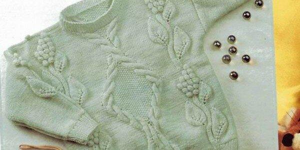 Детский пуловер спицами с узорами для девочек