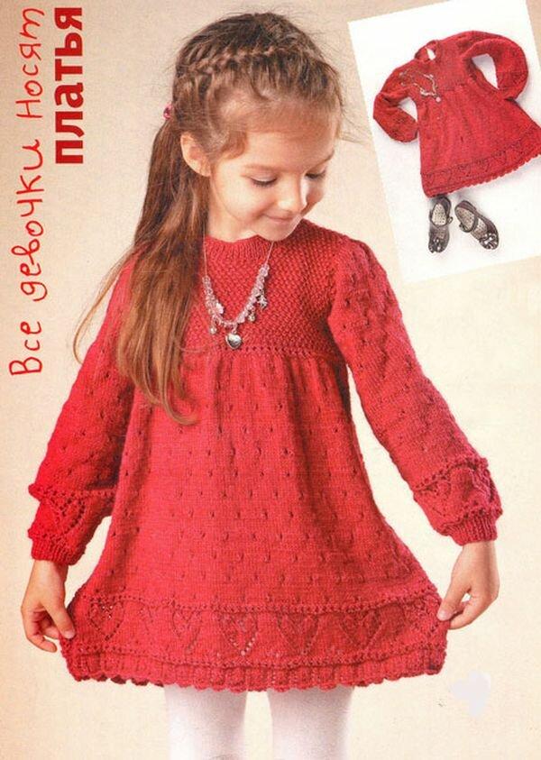 детям вяжем схемами платье со