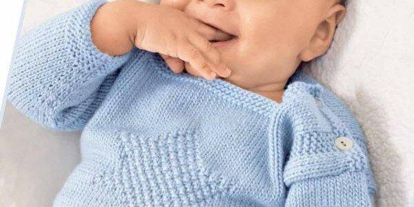 Пуловер для годовалого мальчика спицами